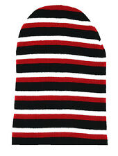 Long Striped Beanie Knit Hat-black red white