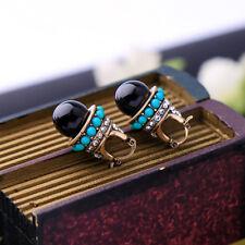 Women Elegant Fashion Earrings Stud Green Resin Crystal Black Round Pearl