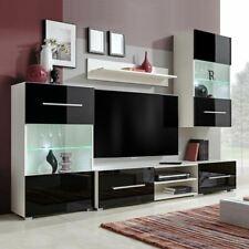 vidaXL Meuble TV mural 5 pièces avec éclairage LED - Noir et Blanc (243864)
