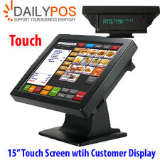 "New 15"" Touchscreen LCD Monitor POS Touch Screen w Customer display for POS"