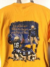 2005 The Spirit Lives Notre Dame Football yellow/ gold 2 sided t shirt sz L NWOT
