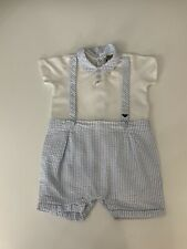 Armani Baby Romper, Babygrow, Size Age 9 Months, 68cm, Blue & White