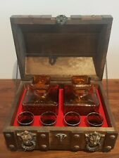 More details for vintage amber glass liquor decanter set in wood tantalus treasure chest box