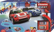 CARRERA FIRST 63009 MINI COOPER BATTERY OPERATED 1/50 SLOT CAR RACING SET