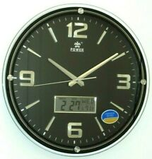 Elegant 15 inch Wall Clock with Lcd Display of Day, Date & Indoor Temperature (P