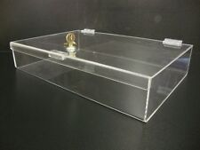 "16"" X 10"" X 3"" Acrylic Lucite Locking Security Show Case Safe Display Case"