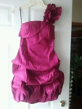 Wet Seal Satin One Shoulder Prom Juniors Dress Fucshia Pink Size S NWT