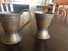 Pair Stickley Era Arts & Crafts Cups, Copper & Brass, Hand Hammered