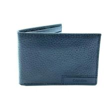 $55 CALVIN KLEIN Mens Black Leather Bifold Passcase Slim Billfold RFID Wallet