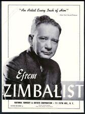 1943 Efrem Zimbalist photo violin recital tour booking trade print ad