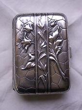 Porte cigarette en  argent  poinçon époque  Art Nouveau décor fleuri