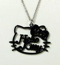 Pendentif Hello Kitty chaîne noeud couleur noir paillettes