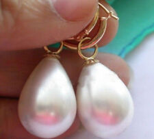 LARGE 12x16MM DRIP WHITE SOUTH SEA SHELL PEARL DANGLE EARRING Gold Plated