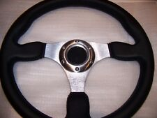 Leather Steering Wheel Black and Aluminum 6 bolt momo style