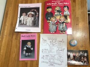 Dolly Dingle Paper Doll Cut Outs Book, Button, Doll Castle News and Family Tree