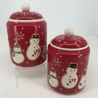 Set of 2 Hallmark Christmas Holiday Snowmen Red Ceramic Treat Cookie Jars