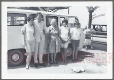 Vintage Photo Woman w/ Crutches Man & Girls 1962 Ford Econoline Van 744458