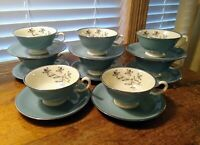 Eight Lenox Kingsley X-445 Teal/Platinum Cup & Saucers Made In USA Excell. Cond.