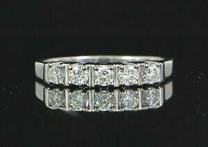 $2,350 14K White Gold 5 Round 0.50ct Diamond Wedding Band Anniversary Ring Band