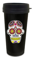 Candy Sugar Skull  Black 16 oz Reusable Travel Mug  Funny Joke Gag Gift