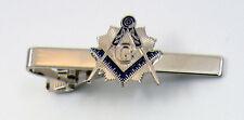 Masonic Tie Clip Square & Compasses Light Silver Tone Mason Freemason