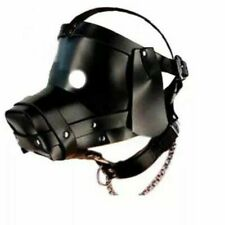 LEATHER BONDAGE PUPPY DOG HEAD HOOD MASK SLAVE COSPLAY FULL HEAD ROLE PLAY
