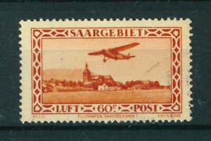Germany Saargebiet 1932 Airmail 60c red stamp. Used. Sg 157