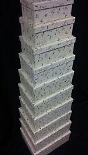 Set of 5 big stacking/ nesting keepsake storage floral leaf printed gift boxes