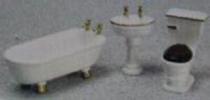 Dollhouse Miniature -1:24 Scale -T0229 -  Bathroom Furniture Set - White