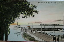 c1910 Electric RR Pier at South Bay on Oneida Lake New York NY postcard view