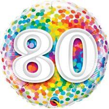 """80. Geburtstag Regenbogen Konfetti 18"""" Folien Ballon für Luft / Helium Qualatex"""