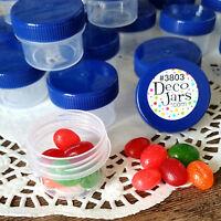 24 * 1/2 oz Clear Plastic Jars BLUE CAPS 1 TBLSPOON Containers #K3803  DecoJars