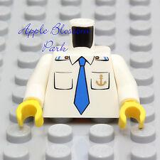 NEW Lego Ship Captain WHITE SHIRT MINIFIG TORSO Upper w/Anchor Blue Tie Pockets