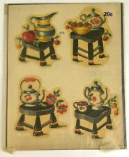 Vintage Meyercord Decals Transfers 898 MidCentury Flowers Fruit Teapots Pitcher