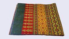 Handblock Kantha Quilt Bedspread Throw Cotton Blanket Queen size King size