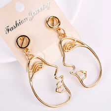 Long Drop Earrings Gold Dangle Abstract Hollow Cutout Face Head Art Deco Party