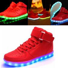 Unisex 7 Color LED Light Lace Up Luminous Sneaker Shoes USB High Top US 7 EUR 39