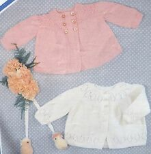 """Vintage Knitting Pattern Baby Clothes 2 Matinee Coat 18-20""""/46-51 cms 4 Ply P454"""