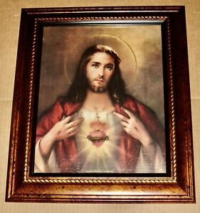 Sacred Heart of Jesus in A FINE Detailed SCROLLWORK Satin Gold Frame Hail Mary Gifts 1pc