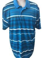 PGA Tour mens polo golf shirt size XXL pro Series athletic fit blue black stripe