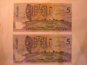 1992 Fraser/Cole $5 consecutive notes. UNC
