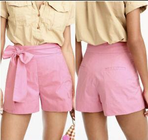 NEW J. CREW Women's Size 4 Pink Cotton Poplin Tie Waist Lake Shorts