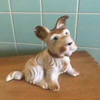 Vtg Dog figurine porcelain Japan Brown white Scottish terrier animal collectible