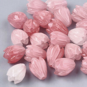 10pcs Synthetic Coral Flower Beads LightCoral Smooth Loose Spacer Craft 8.5x7mm