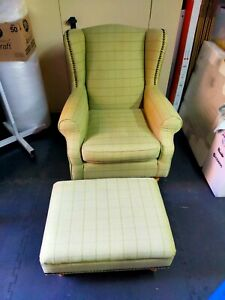 Next Sherlock Armchair Wingback Chair With Footstool - Light Legs - Smart Check