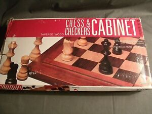 1998 CARDINAL CHESS & CHECKERS CABINET, TAPERED WOOD + BOX