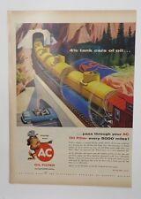 Original Print Ad 1956 AC OIL FILTER 4 1/2 Tank Cars of All Train