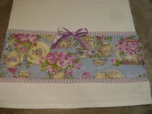 Cottage CHIC White Decorative Custom GUEST HAND Towel Purple garden teacup Rose
