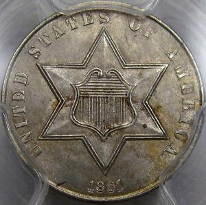 1861 Three Cent Silver Choice BU PCGS MS-63...180 Rotated Reverse, Super PQ Coin