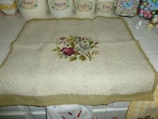 Beautiful Vintage Needlepoint Chair Cover Beige With Burgundy And Blue Floral